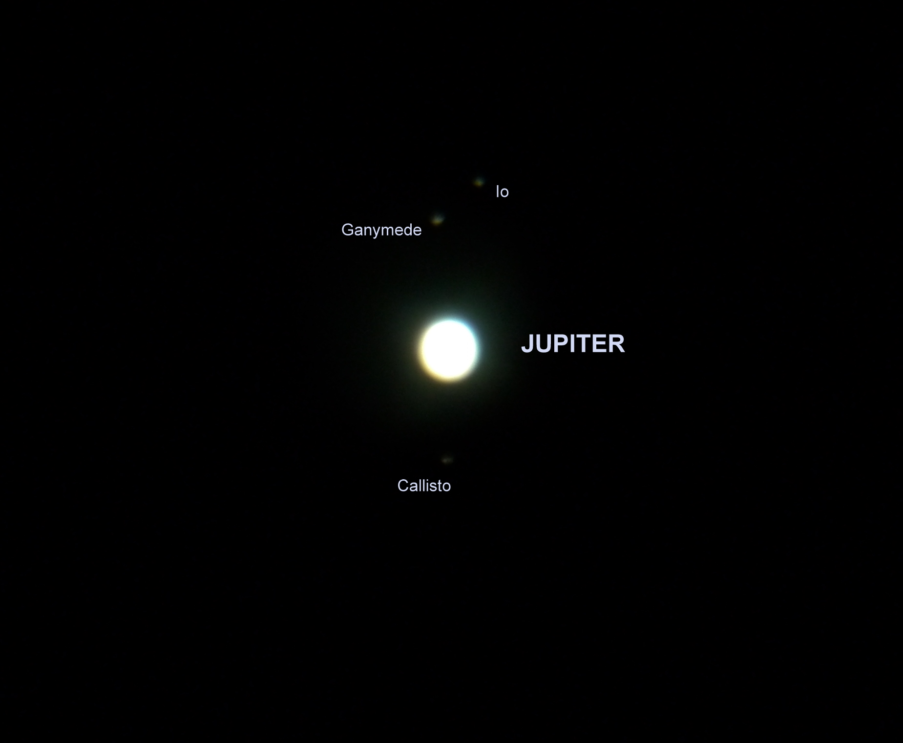 jupiter and its galilean moons I first took a picture of jupiter and its four galilean moons with my 130 mm reflector and a nikon d5000 dslr with a 25mm objective jupiter was overexposed and no details could be seen i then used the neximage ( celestron ) webcam with a 2x barlow to isolate jupiter 597 frames were aligned and stacked with registax.