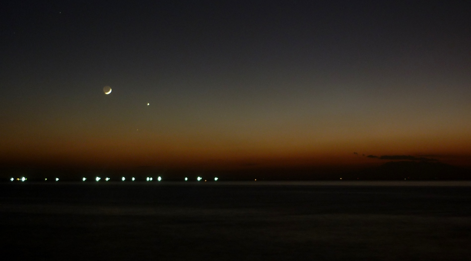Venus, Mercury and the Young Moon at dusk