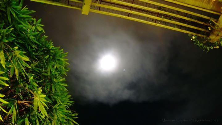 Waxing giibous Moon and Jupiter