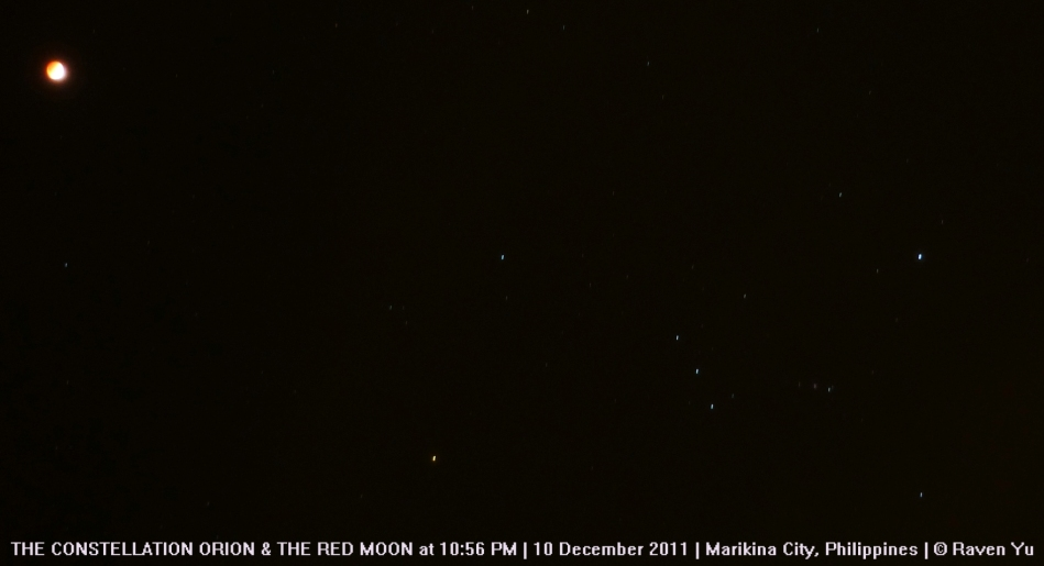 Orion and the Red Moon at 10:59 pm