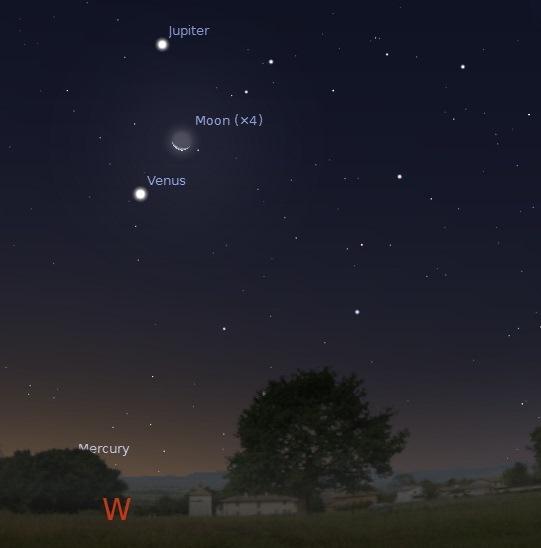 Moon, Venus and Jupiter   6pm   Manila