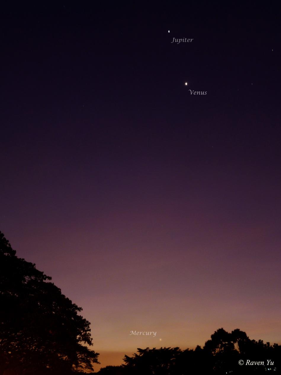 Venus, Mercury and Jupiter at dusk