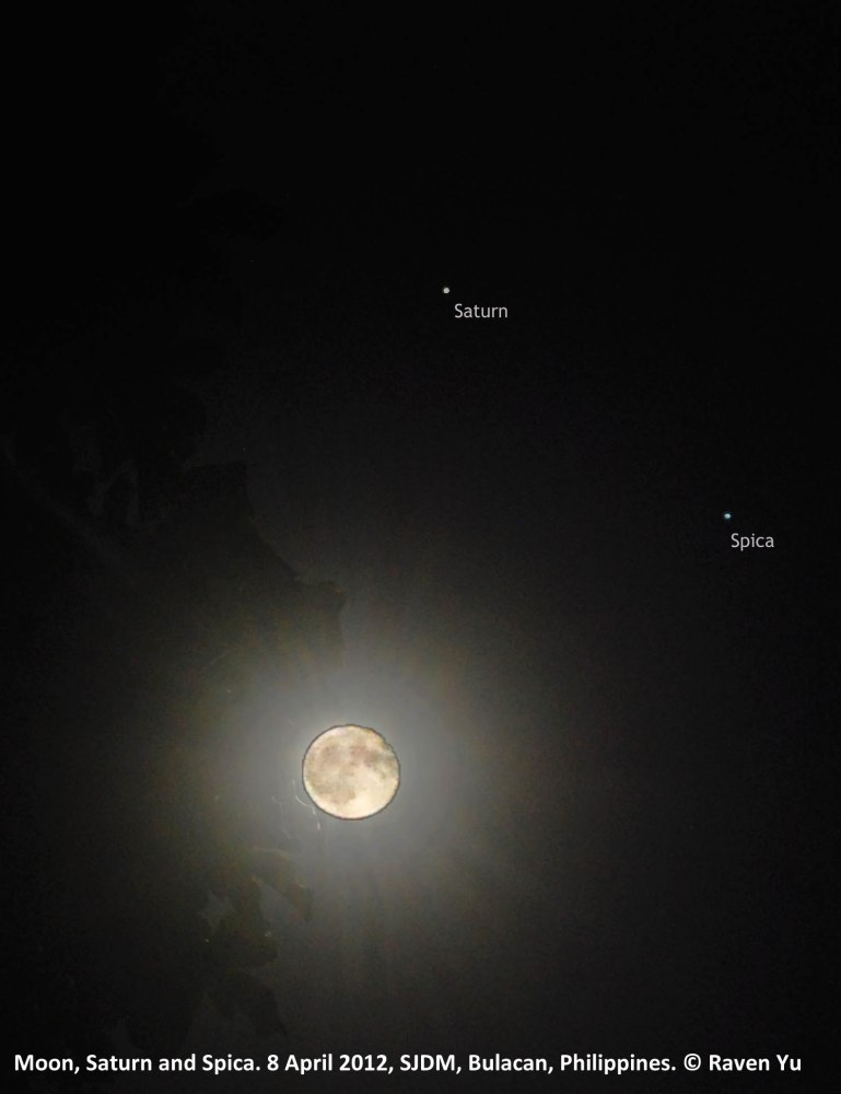 Cosmic Trio: Saturn, Spica and the Moon
