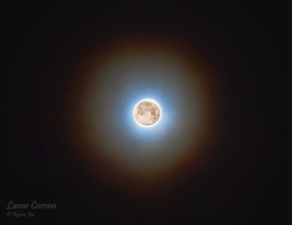A composite image showing a lunar corona around the full moon occurring last August 2, 2012