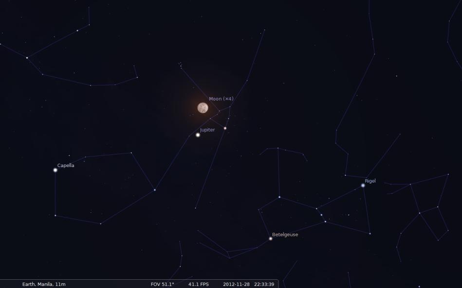 Moon near Jupiter and Aldebaran in Taurus - November 28, 2012 (scrrenshot image from Stellarium)